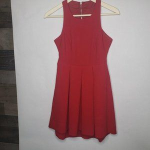 Lulu's Red Fit Flare Keyhole Cage Back Dress